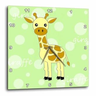 Green Baby 3dRose Giraffe, Wall Clock, 10 by 10-inch