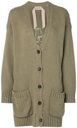 No.21 long-line branded cardigan