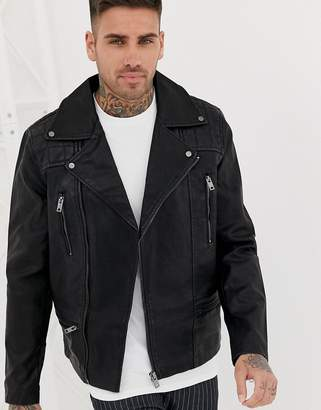 New Look biker jacket with zip detail in black