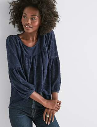 Lucky Brand CLIPPED JACQUARD PEASANT TOP