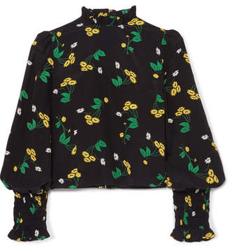 RIXO London - Jenny Ruffled Floral-print Silk-crepe Top - Black
