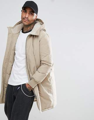 Asos DESIGN Heavyweight Parka With Fleece Lined Hood In Stone
