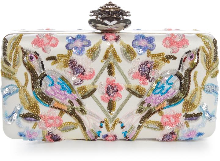 Alexander McQueenALEXANDER MCQUEEN Heart-clasp floral-embellished satin box clutch