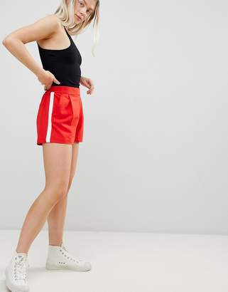 Pull&Bear tailored side stripe short in red