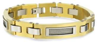 Cold Steel Stainless Steel and Immersion Plated Cable Men's Id Bracelet