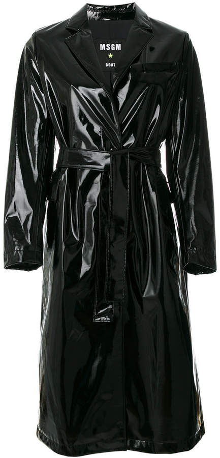 MSGM high shine single breasted coat
