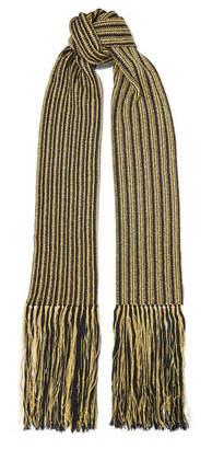 Saint Laurent Fringed Striped Metallic Crochet-knit Wool-blend Scarf - Black