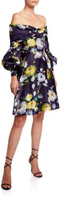 Flor et.al Abba Neon Floral Off-the-Shoulder Bishop-Sleeve Liquid Organza Dress