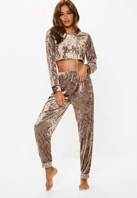 Missguided mink crushed velvet cropped hoodie lounge set, Champagne