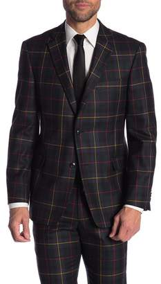Tommy Hilfiger Tyler Navy Plaid Two Button Notch Lapel Wool Modern Fit Stretch Suit Separates Jacket
