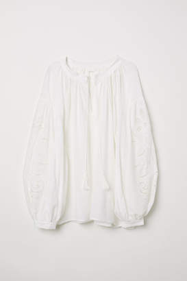 H&M Blouse with Cutwork Embroidery - White