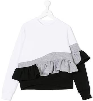 Ioana Ciolacu Kids contrast ruffle-hem sweater