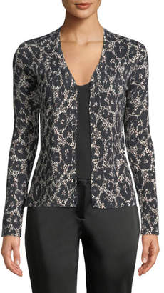 Roberto Cavalli Button-Front Long-Sleeve Leopard-Print Cashmere-Silk Cardigan