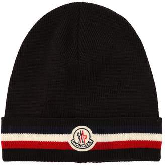 Moncler Striped Wool Knit Beanie Hat