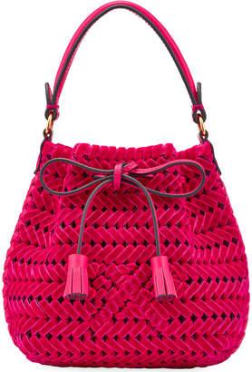 Anya Hindmarch The Neeson Tiny Velvet Ribbon Drawstring Bucket Bag, Magenta