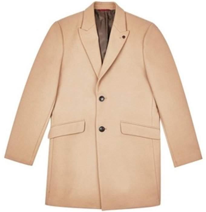 Womens **Burton Camel Faux Wool Chesterfield Overcoat