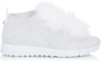 Jimmy Choo NORWAY White Knit and Lurex Trainers with Fur Pom Poms