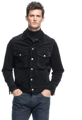 Todd Snyder Italian Suede Snap Dylan Jacket in Black