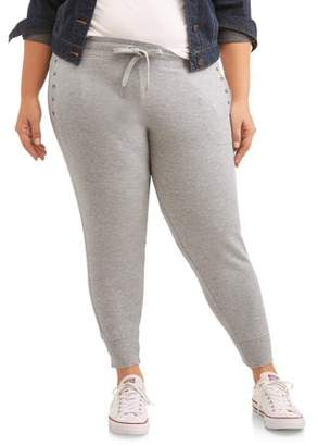 New York Laundry Athleisure Women's Plus Pant Jogger with Stud Detail