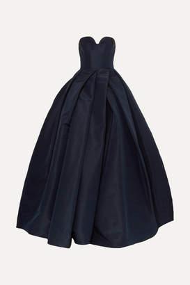 Reem Acra Pleated Silk-faille Gown - Navy