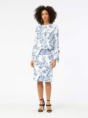 Oscar de la Renta Floral Toile Textured Cotton Pencil Skirt