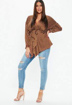 Missguided Plus Size Rust Polka Dot Belted Longline Top
