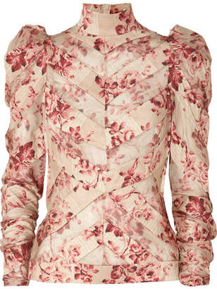 Zimmermann Unbridled Chiffon-paneled Floral-print Silk-blend Blouse - Antique rose