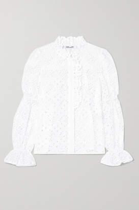 Diane von Furstenberg Rosalyn Broderie Anglaise Cotton Blouse - White