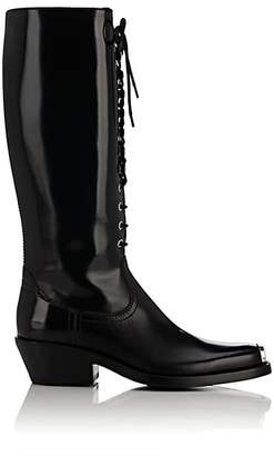 Calvin Klein Women's Spazzolato Leather Lace-Up Knee Boots - Black Size 7