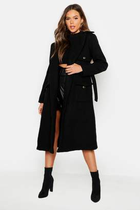 boohoo Pocket Detail Wool Look Trench