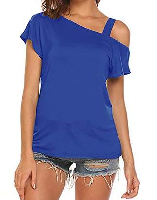 42552d497978a Cyanstyle Flowy Tops for Women Ladies Short Sleeve Shirt Round O Neck  Strapless Blouse Classy Beautiful