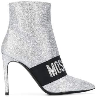 Moschino 100mm logo band glitter ankle boots
