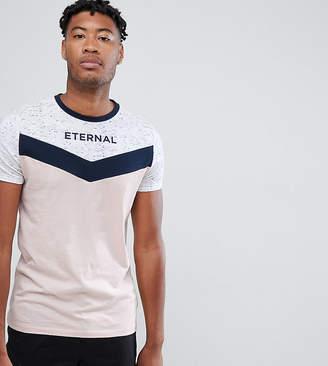 Asos DESIGN Tall t-shirt with yoke chevron space dye and eternal text print