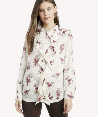 Sole Society L/S Ruffle Front Delicate Bouquet Blouse