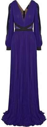 J. Mendel J.mendel Lace-Paneled Satin-Trimmed Plissé Chiffon Gown