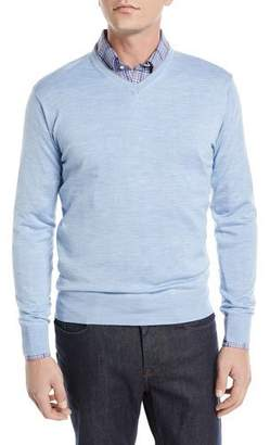 Peter Millar Wool-Silk V-Neck Sweater
