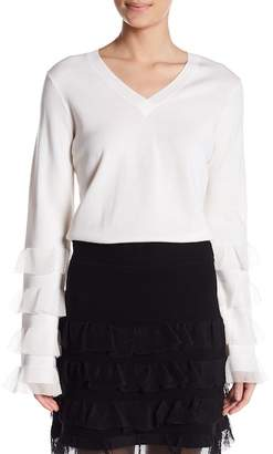 Derek Lam 10 Crosby V-Neck Tiered Ruffle Wool Blend Sweater