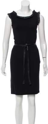 Christian Dior Wool Leather-Accented Dress