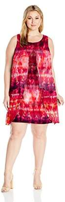 Notations Women's Plus Size Woven Overlay With Printed Knit Under Lay Derss