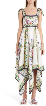 Women's Dolce&gabbana Print Silk Handkerchief Hem Dress $2,675 thestylecure.com