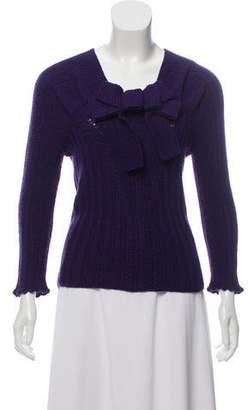 Oscar de la Renta Bow-Accented Cashmere Sweater