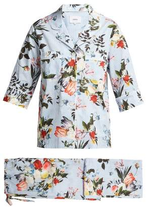 Erdem Delanie Floral Print Cotton Pyjamas - Womens - Blue Multi