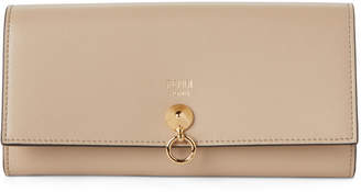 Fendi Beige ABClick Leather Chain Wallet