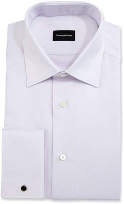 Ermenegildo Zegna Solid Textured French-Cuff Dress Shirt, Lavender