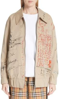 Burberry Barnhall Postcard Print Tropical Gabardine Jacket