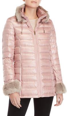 Via Spiga Faux Fur Trim Packable Down Coat