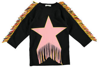 Stella McCartney Star Patch & Fringe Sweater Dress, Size 4-14