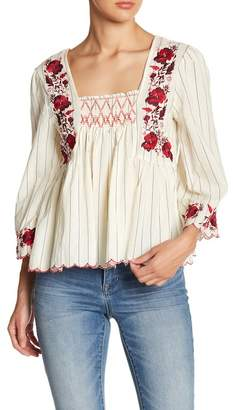 ALLISON NEW YORK Embroidered Smock Neck Blouse