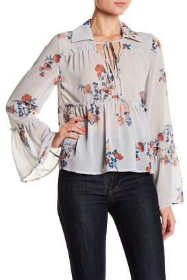 June & Hudson Collared Floral Long Sleeve Top