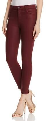 J Brand Alana High Rise Crop Skinny Jeans in Coated Oxblood